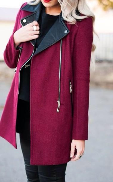 coat jacket pink leather burgundy jacket winter jacket