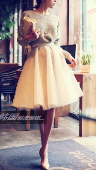 skirt tulle skirt high waisted skirt knee length skirt blouse sweater girl shoes summer outfits