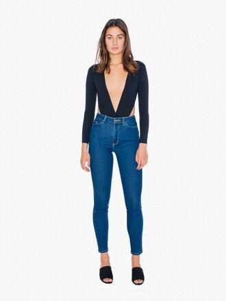 underwear backless american apparel black underwear cut-out long sleeves bodysuit black bodysuit jeans