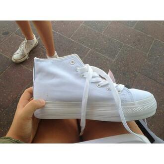 shoes platform shoes flatform white converse pumps white shoes white pumps white platforms