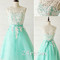 A-line round neckline lace green prom dresses, homecoming dresses - 24prom