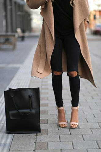 duster coat nude coat camel coat long coat nude sandals ankle strap heels black ripped jeans black jeans ripped jeans black bag tote bag waterfall coat classy edgy