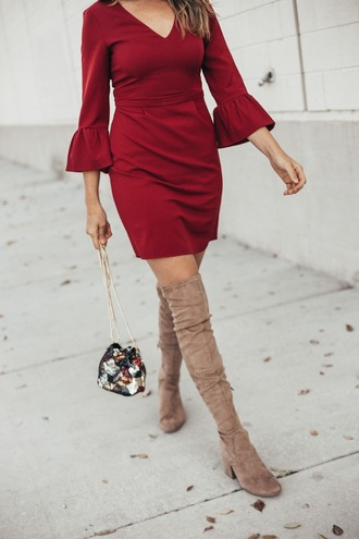 eatpraywearlove blogger dress shoes bag red dress bell sleeves boots over the knee boots fall outfits