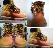 shoes,leopard print,timberland,boots,tan,gols,spikes,new,hot,fashion,timberlands,gold