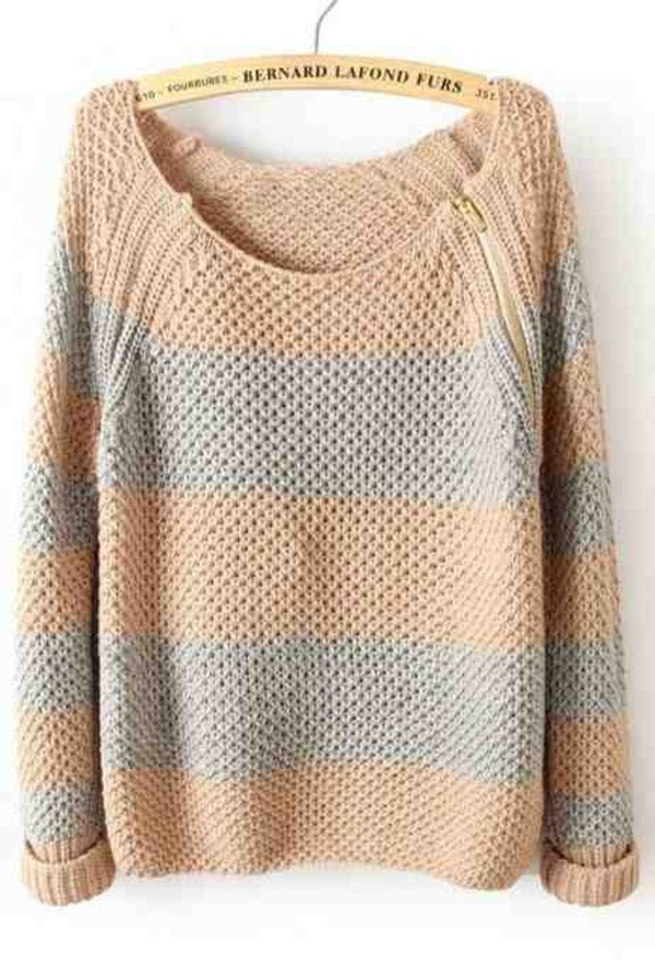 sweater stripes bernard lafond furs zip knitted sweater
