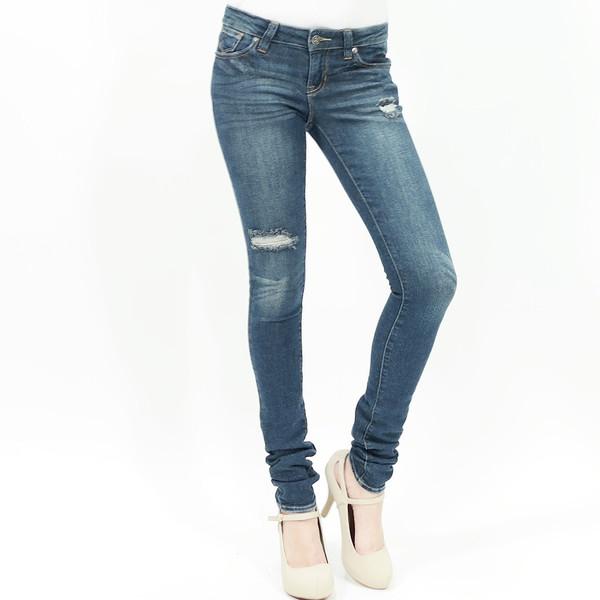 Cut my knees distressed slim skinny jeans dark wash by just usa