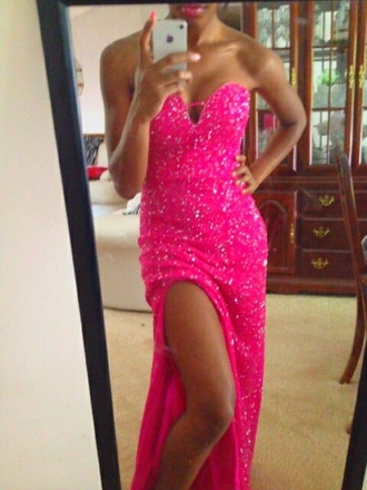 dress sparkly dress hot pink dress slit dress tight prom dress sweetheart neckline