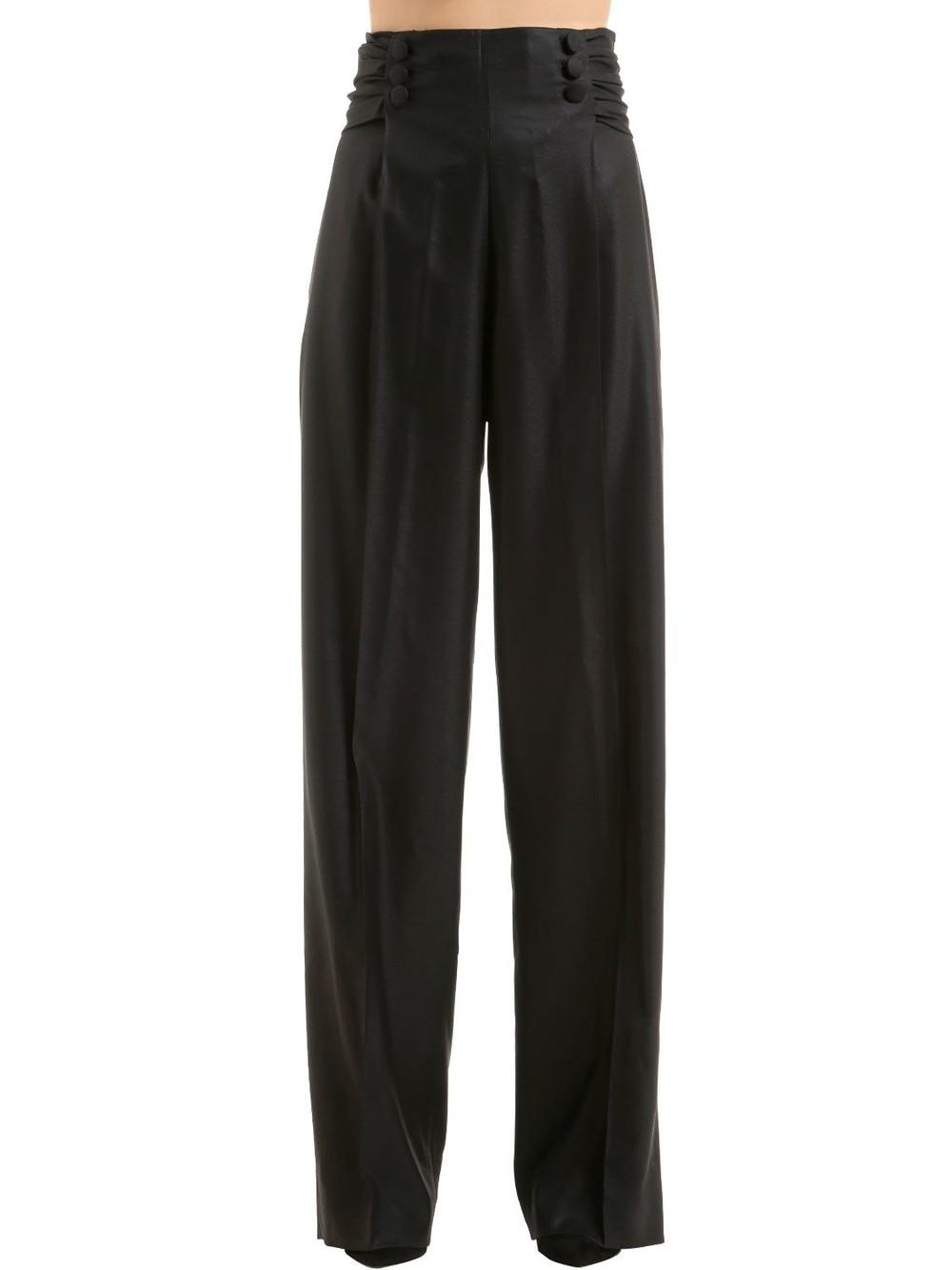 MARCO DE VINCENZO Waxed Wool Palazzo Pants in black
