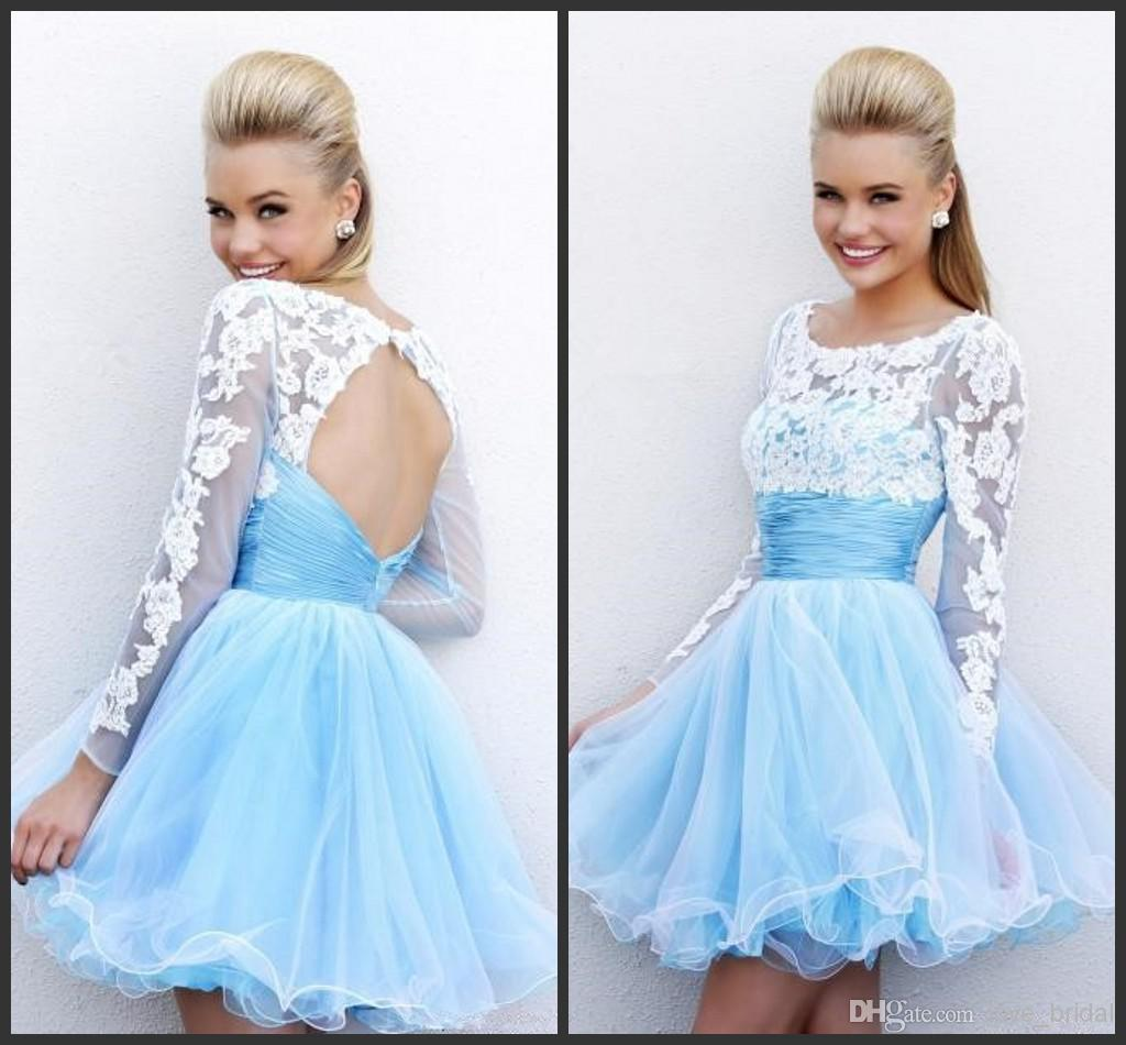 Wholesale Graduation Dresses - Buy Cheap Long Sleeves Backless 2014 Graduation Dresses A-Line Scoop White Lace Appliques Light Blue Sky Short Prom Gowns Mini Homecoming Gown, $73.04 | DHgate