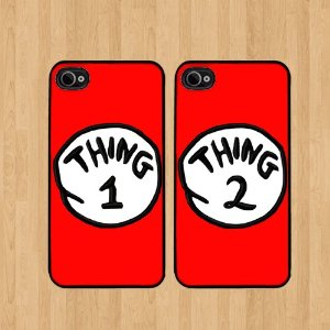 hot sale online b98ab c5d46 Amazon.com: Red Thing 2 Dr Seuss Best Friends iphone 4 /4S Case Soft Rubber  - Set of Two Cases (Black or White ) SHIP FROM CA: Cell Phones & ...
