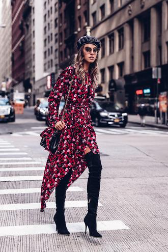viva luxury blogger dress shoes bag hat velvet over the knee boots beret fall outfits
