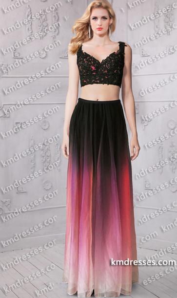 dress prom dress ombre dress lace dress