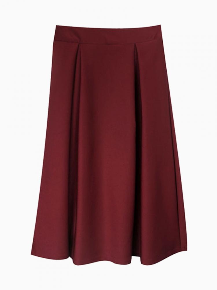 High Waist Winered Skater Midi Skirt | Choies
