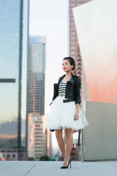 wendy's lookbook t-shirt jacket skirt shoes bag jewels belt sequin shirt leather jacket black leather jacket cropped jacket tutu white skirt