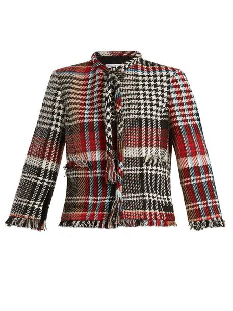 oscar de la renta jacket cotton black