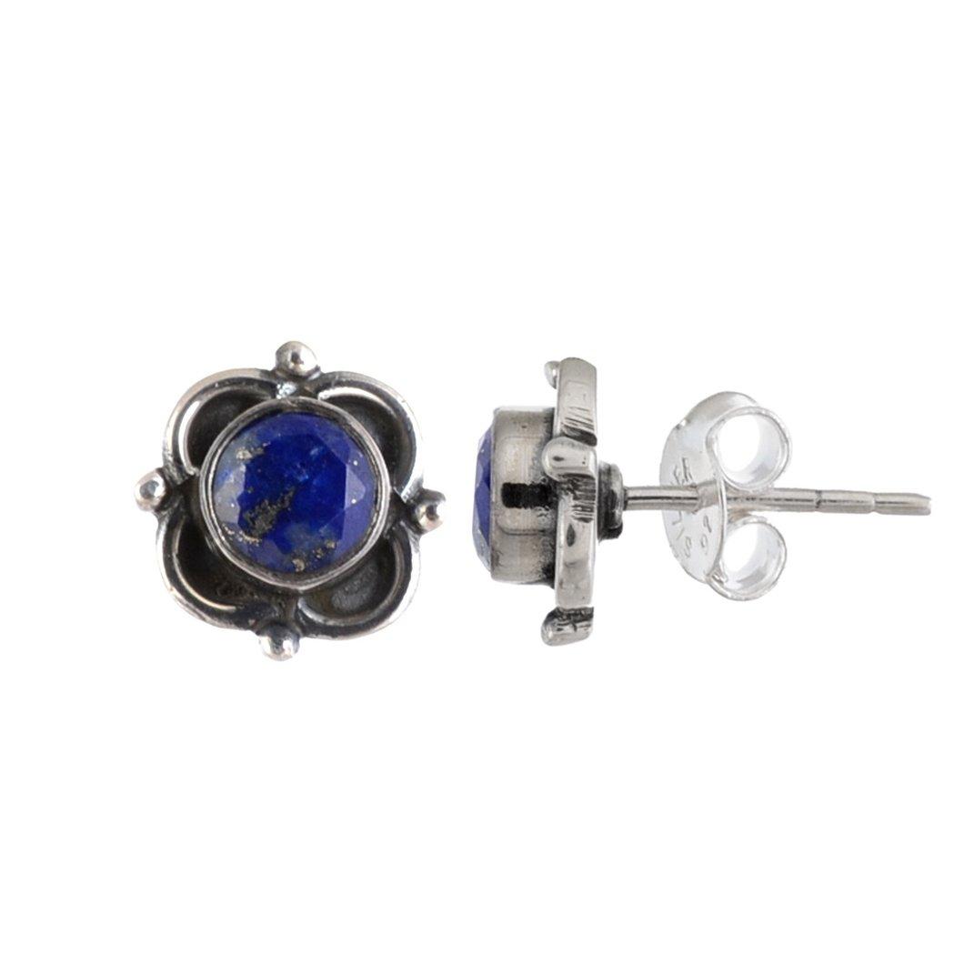 Handmade Silver Framed Stud Earring with Lapis Gemstone