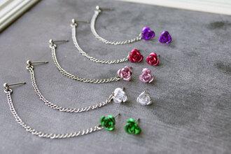 jewels rose earrings green white pink red purple