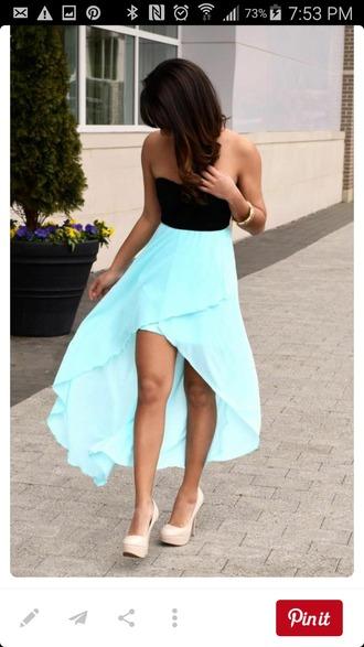dress high low high-low dress strapless dress black light blue