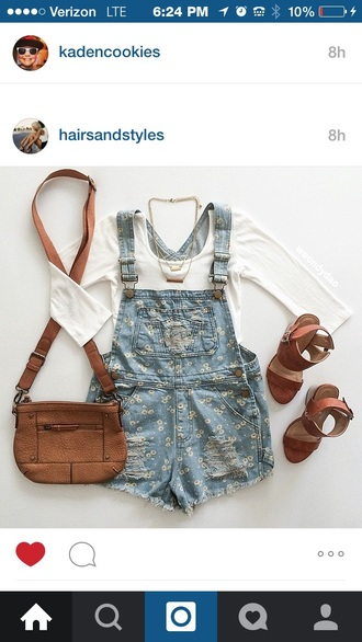 shorts necklace overalls