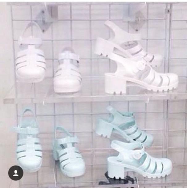 shoes cute jellies pastel sandals mid heel sandals