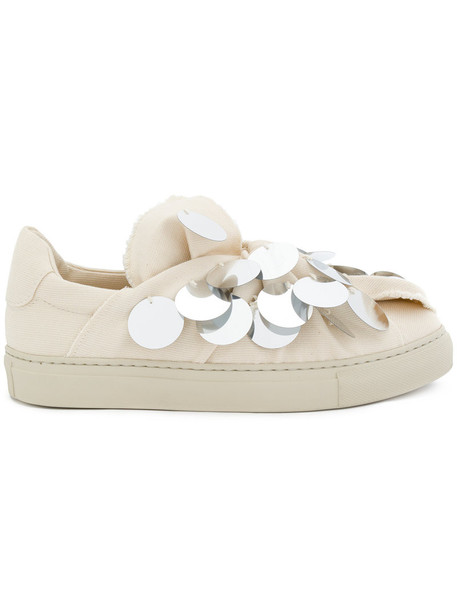 PORTS women embellished sneakers leather nude cotton shoes