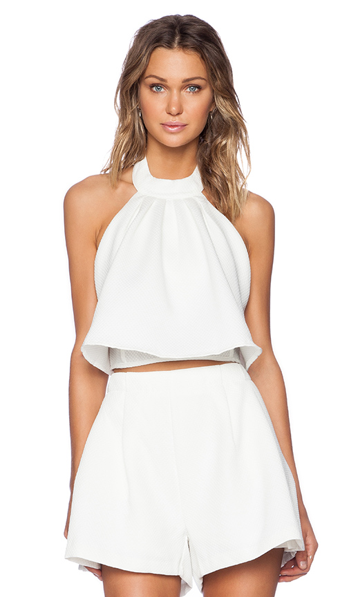 Mlm label accordian crop in ivory from revolveclothing.com