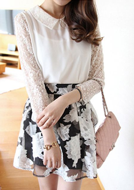 Women's black and white floral printing bubble organza skirts online