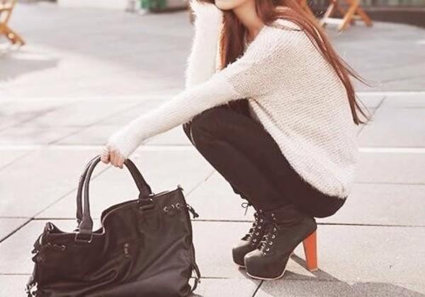 shoes sweater heels girl girl black