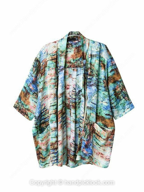 Multicolor Three Quarter Length Sleeve Abstract Print Loose Coat - HandpickLook.com