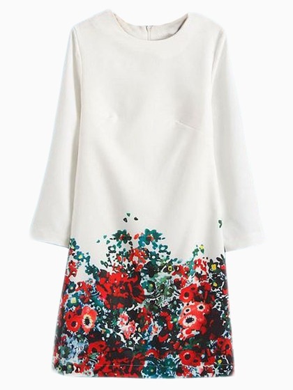 White Shift Dress With Floral Bottom - Choies.com