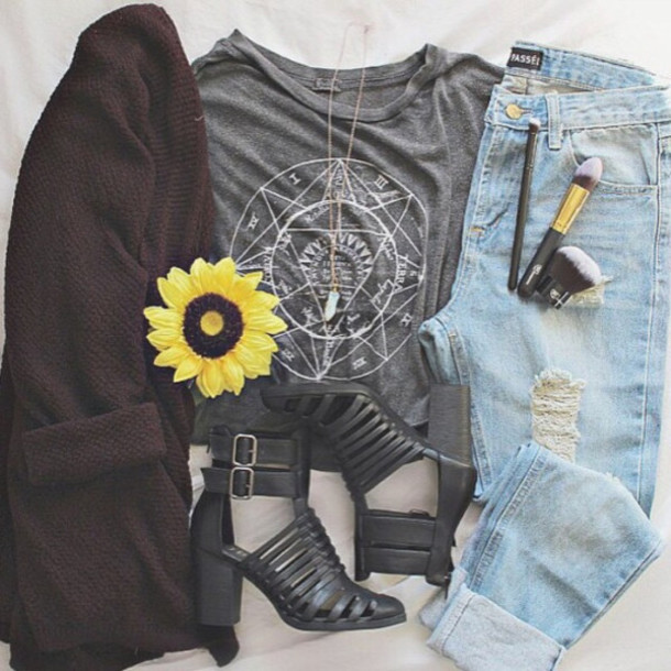 shoes black boots cut out ankle boots booties sandals buckles block heels t-shirt cardigan jeans
