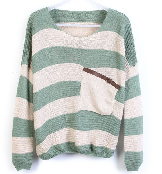Thick striped shirt bat loose pullover knitted fake pocket