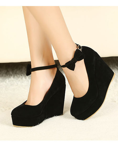 Sale Black Wedge Heels with Bowtie