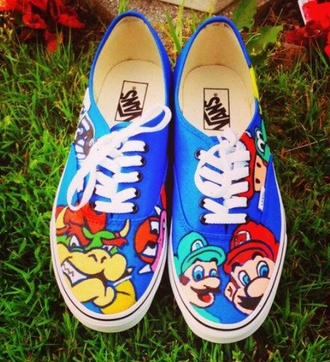 mario bros mario mario brothers luigi blue blue shoes sneakers vans printed vans