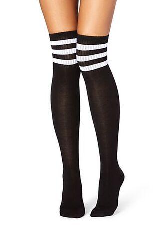 socks black white stripes overtheknee comfy cute sporty dope girl