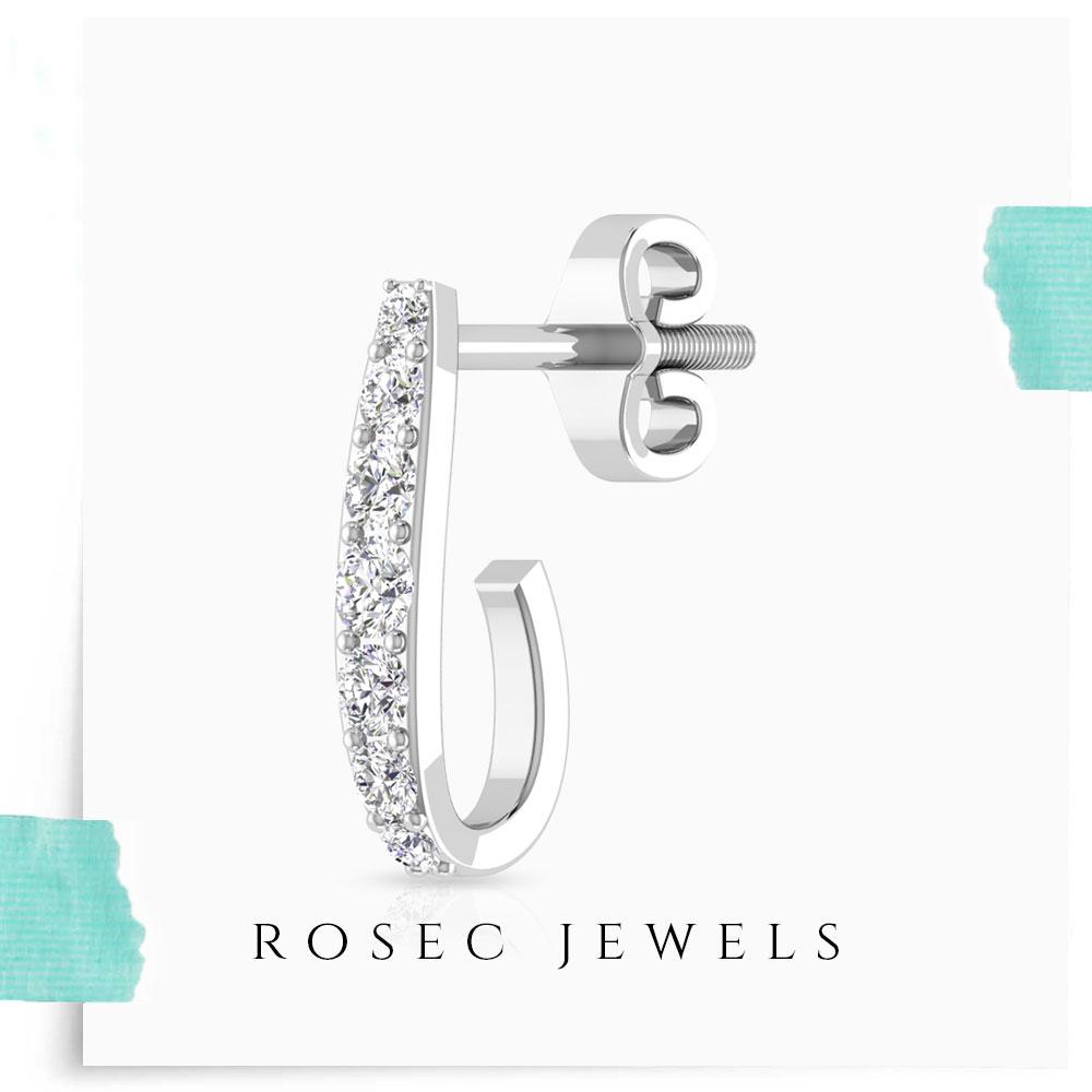 14k Gold Diamond Huggie Earring, J-Shaped Half Hoop Earrings for Women, Tiny Diamond Small Looped Screw Back Hoops
