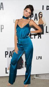 jumpsuit,emily ratajkowski,pants,top,model off-duty,blue