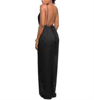 jumpsuit open back sleeveless women curvy wide leg europe fashionista look book ootd minimalist little black dress sexy jumpsuit black jumpsuit