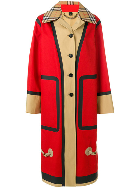 Burberry coat car coat oversized women car cotton red