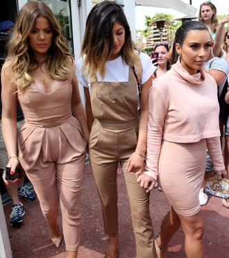 jumpsuit khloe kardashian kylie jenner nude overalls kim kardashian two-piece trendy beige blush pink skirt all nude everything