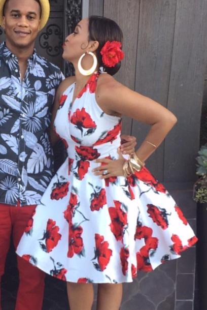 dress rose red white flowers flowery  dress trendy