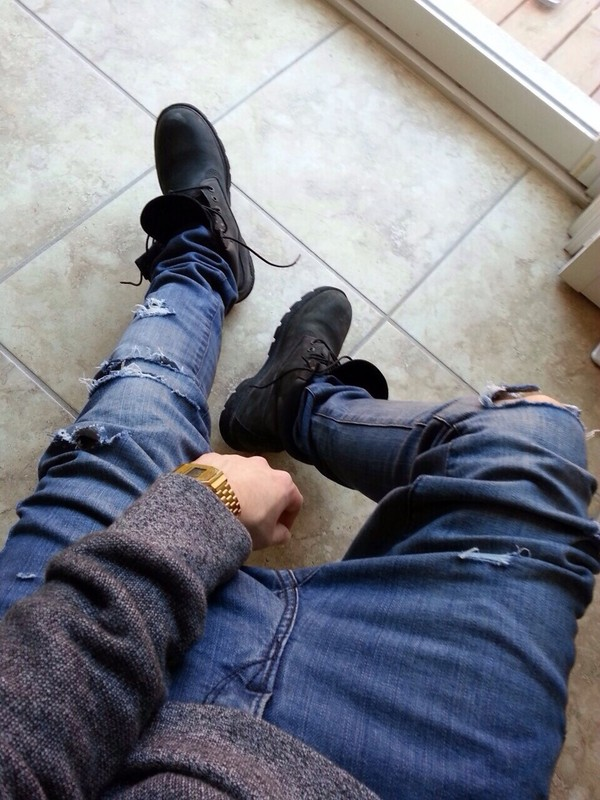 jeans jewels menswear ripped jeans shoes sweater