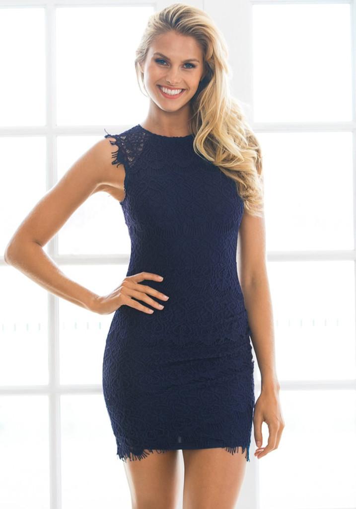 navy blue lace sheath dress