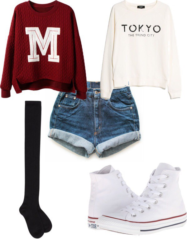 sweater tokyo burgundy sweater style shorts knee high socks white converse converse outfit