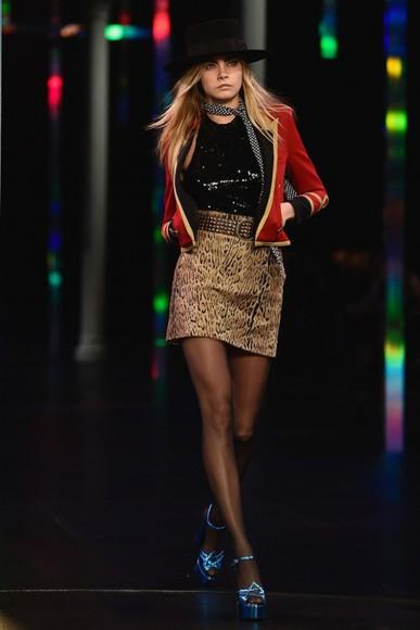 leopard print skirt cara delevingne fashion week 2014