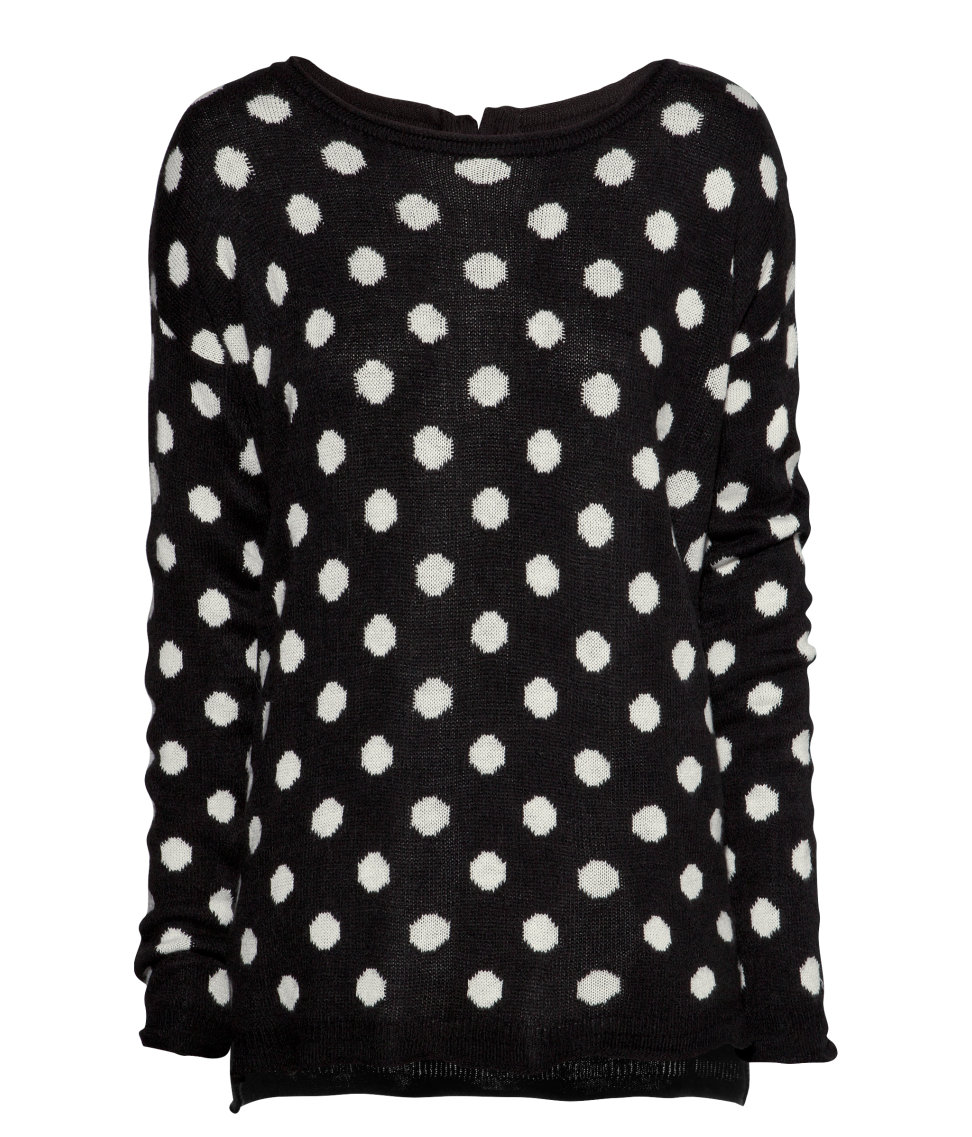 Womens Polka Dot Cardigan Sweater Open Front Knitwear Outwear Tops Blouse $ 11 99 Prime. Hello MIZ. Women's Sweater Knit Maternity Long Sleeve Tunic Top. from $ 24 99 Prime. Black & White Bow Tie Polka Dot Sweater Clip,Cardigan Clip, Collar Clip $ 9 99 Prime ( days) out of 5 stars