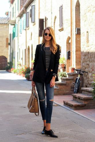 karamode blogger jacket top jeans shoes bag sunglasses