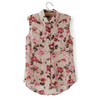 blouse shirt floral roses vintage transparent sheer pockets buttons sleeveless summer slim thin brenda-shop brenda shop tank top