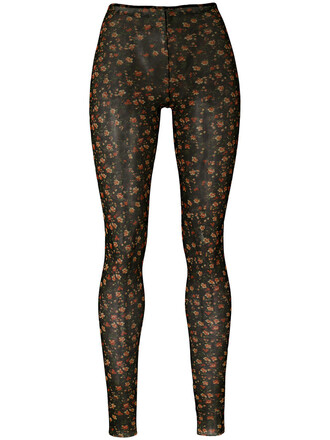 leggings women spandex floral print black pants