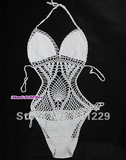 Free shipping new HAND CROCHETED black MONOKINI SWIMWEAR swimsuit #1 Size M shipping within 24hs-in One Pieces from Apparel & Accessories on Aliexpress.com